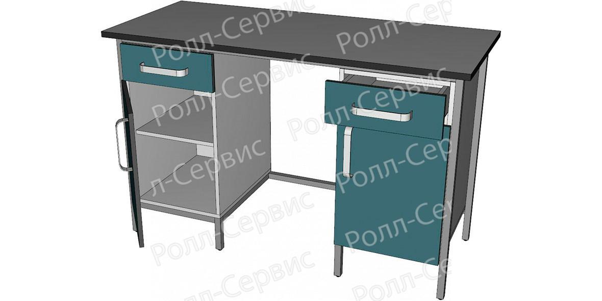 Стол лабораторный двухтумбовый с ящиками и дверцами, фото 2