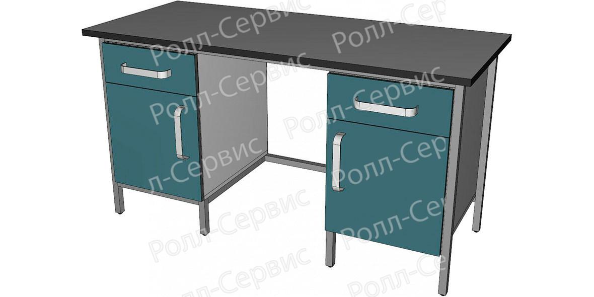 Стол лабораторный двухтумбовый с ящиками и дверцами, фото 1