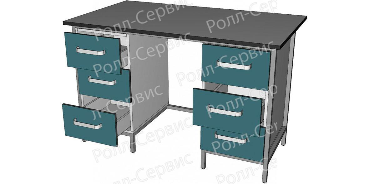 Стол лабораторный двухтумбовый с тремя ящиками, фото 2