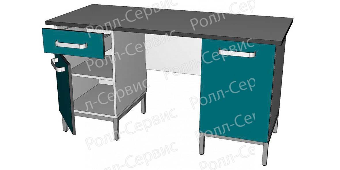 Стол лабораторный двухтумбовый 2 из ЛДСП, фото 2