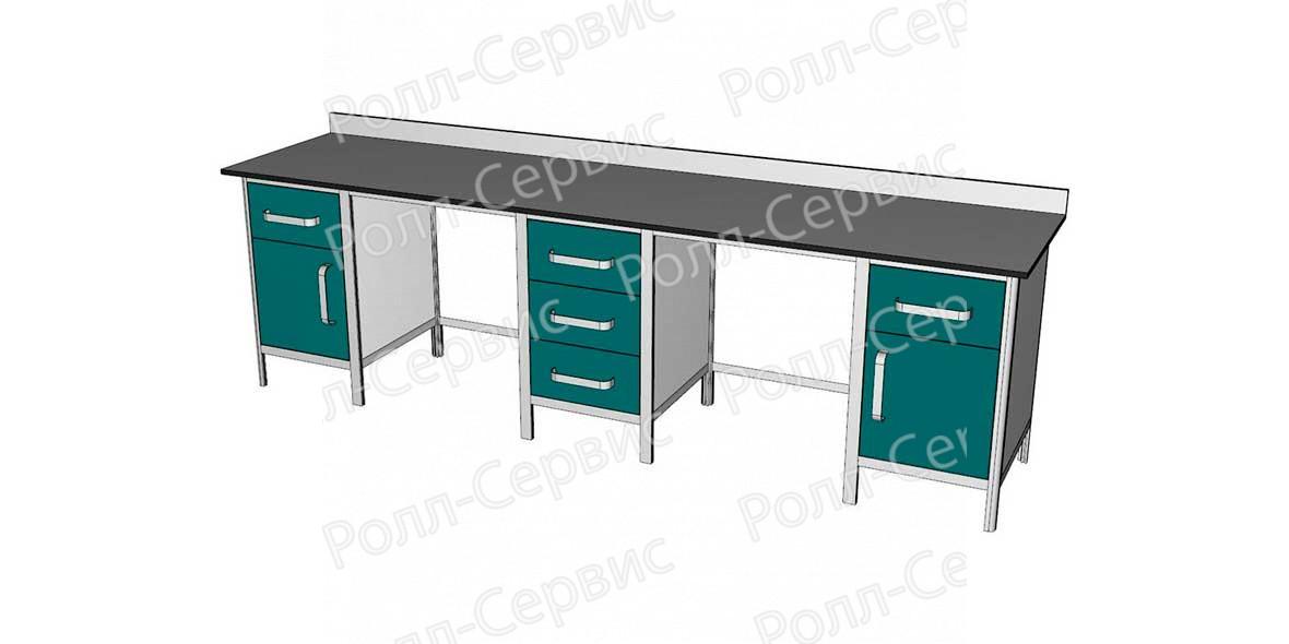 Стол лабораторный трехтумбовый №5 серия ALUM, фото 1