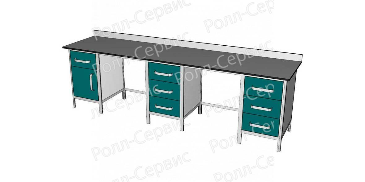 Стол лабораторный трехтумбовый №5 серия ALUM, фото 2