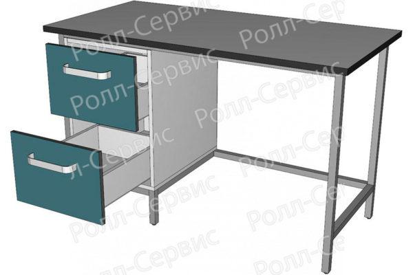 Стол лабораторный однотумбовый с двумя ящиками, фото 2