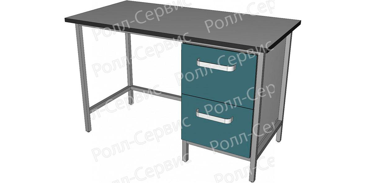 Стол лабораторный однотумбовый с двумя ящиками, фото 1