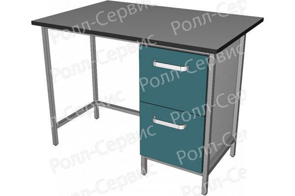 Стол лабораторный однотумбовый с двумя ящиками, фото 3