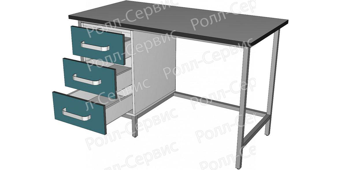 Стол лабораторный однотумбовый с тремя ящиками, фото 2
