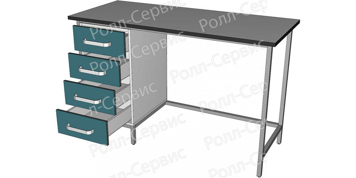 Стол лабораторный высокий с четырьмя ящиками, фото 2