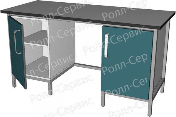 Стол лабораторный двухтумбовый с дверцами, фото 2