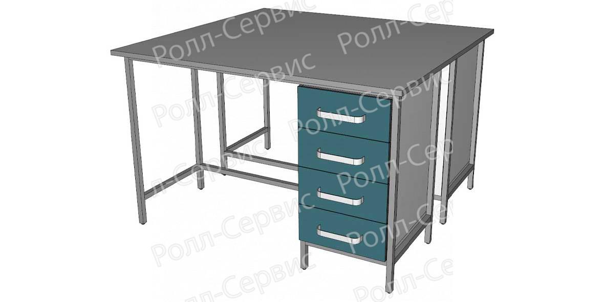Стол лабораторный STANDART островной на металлокаркасе 4, фото