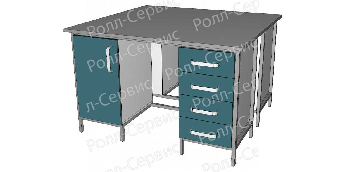 Стол лабораторный STANDART островной на металлокаркасе 6, фото