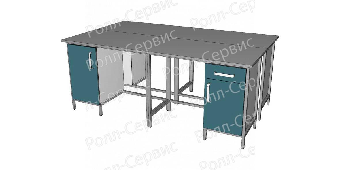 Стол лабораторный STANDART островной на металлокаркасе 8, фото